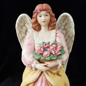 Homeco Porcelain Angel with Basket of Roses #8806